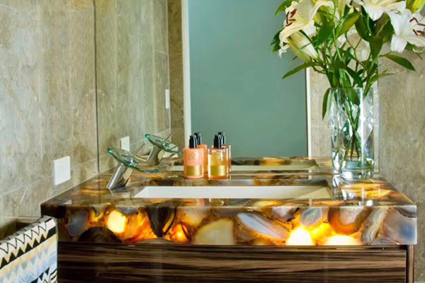 Translucent onyx vanity top