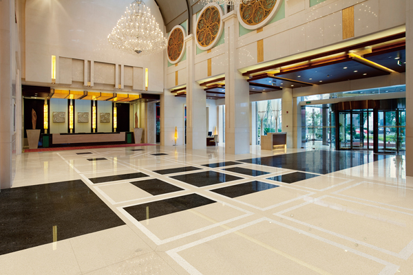 Big hall floor engineer tiles marble