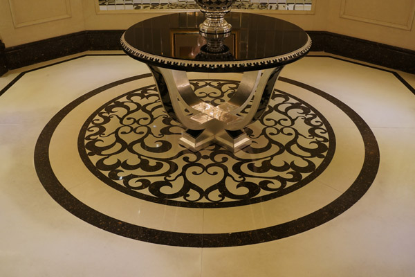 Water jet tiles for floor