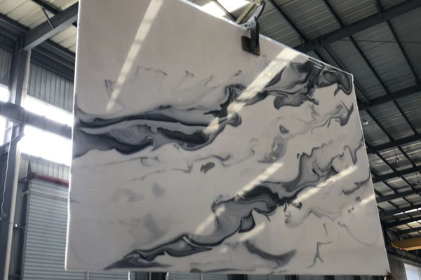 Black and white onyx artificial slab