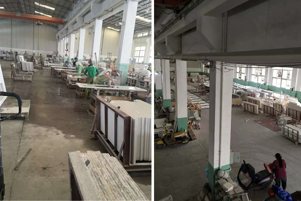 white quartz countertops fabrication factory