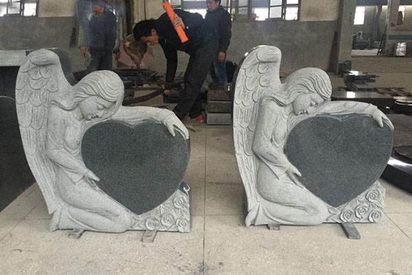 angel design heart shape headstones monuments
