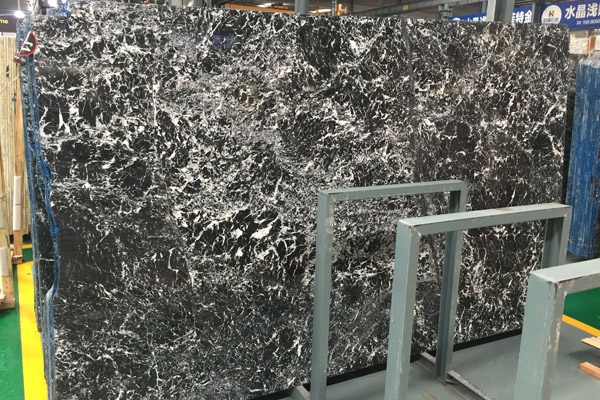 big slab black marble with white design