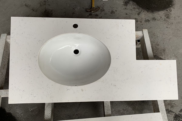 quartz surface top with undermount basin